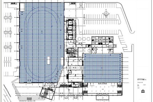 Grunnmynd 1.hæð - grid 1m x 1m